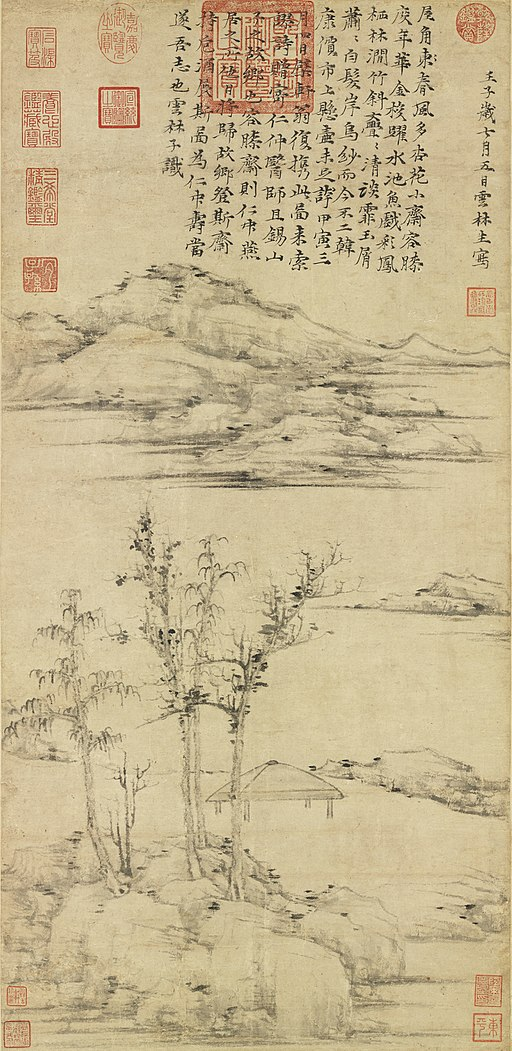 Ni Zan. The Rongxi Studio.1372. 74,7x35,3. National Palace Museum, Taipei