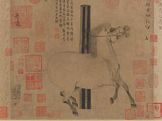 <i>Night-Shining White</i> Tang dynasty handscroll (China) by Han Gan depicting a horse (MET, 1977.78)