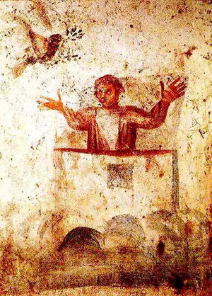 Peace symbols - Wall painting from the early Christian Catacombs of Marcellinus and Peter in Rome, showing Noah, in the Orante attitude of prayer, the dove and an olive branch