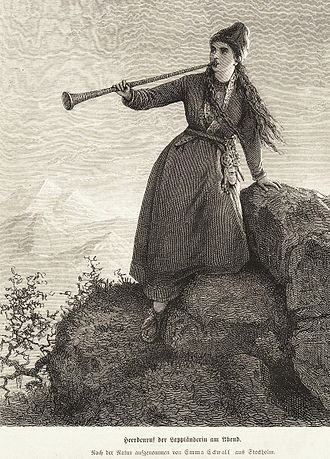 Sami music - A Nordic Sami woman playing Lur horn in the evening. A wood cut made by Emma Edwall after nature in the mid-1800s.