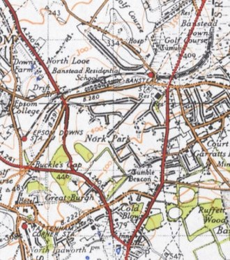 Nork, Surrey - 1945 OS map. About half of the housing estates remained to be built; e.g. Nork Way stops at Beacon Way
