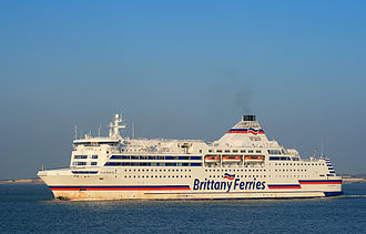 Portsmouth International Port - MV Normandie, operated by Brittany Ferries, an English Channel RoRo vehicle and passenger ferry outward bound to France from Portsmouth.