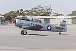 North American T-6 Harvard Mk. IV (VH-USR) taxiing at Wagga Wagga Airport.jpg