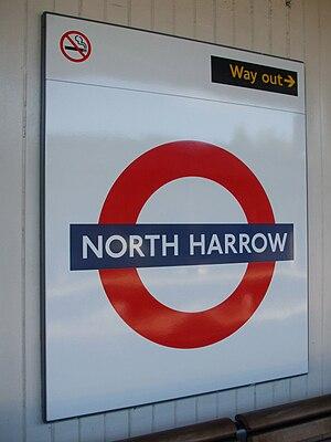 North Harrow tube station - Image: North Harrow stn roundel