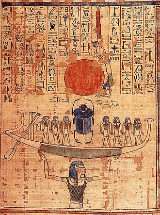 Egyptian mythology - Nun, the embodiment of the primordial waters, lifts the barque of the sun god Ra into the sky at the moment of creation.