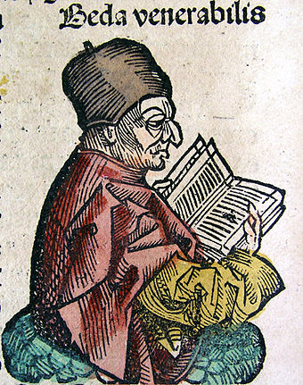 Depiction of the Venerable Bede (on CLVIIIv) from the Nuremberg Chronicle, 1493 Nuremberg Chronicle Venerable Bede.jpg