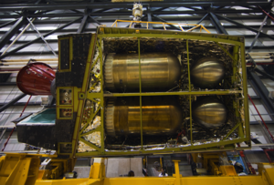 Hypergolic propellant - Hypergolic propellant tanks of the Orbital Maneuvering System of Space Shuttle Endeavour