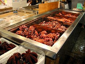 Bläckfisk på fiskmarknaden i Tsukiji, Japan