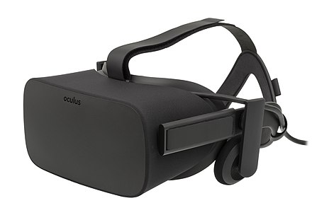 In 2014, Facebook bought Oculus VR for $2.3 billion in stock and cash, which released its first consumer virtual reality headset in 2016. Oculus-Rift-CV1-Headset-Front.jpg