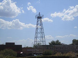 Gladewater, Texas - Oil derrick replica in downtown Gladewater recalls the oil boom years.