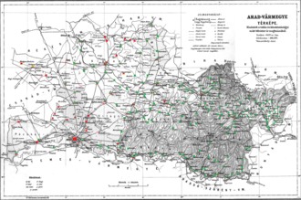 Arad County (former) - Ethnic map of the county with data of the 1910 census (see the key in the description).