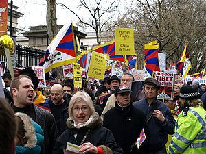 Protests and uprisings in Tibet since 1950 - Pro-Tibetan protesters at Olympic Torch Relay London 2008