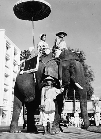 Trưng Sisters - Trưng Sisters, national heroines of Viet Nam are honored with a parade of elephants and floats in Saigon, 1961