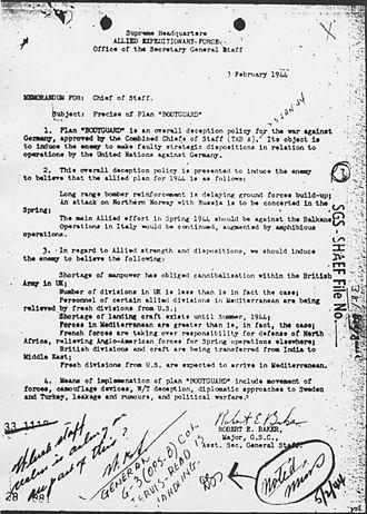 Operation Bodyguard - Memorandum on Bodyguard prepared for SHAEF in February 1944