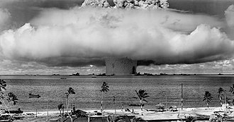 Nuclear disarmament - Mushroom-shaped cloud and water column from the underwater nuclear explosion of July 25, 1946, which was part of Operation Crossroads.