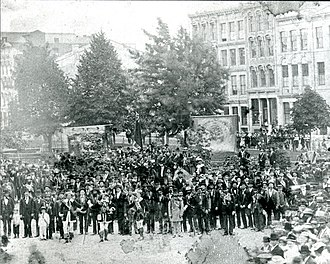 History of Hamilton, Ontario - The Orange Order in Gore Park in the 1870s. The Order, made up largely of Northern Irish Protestants, grew in popularity with large scale immigration from the British Isles.