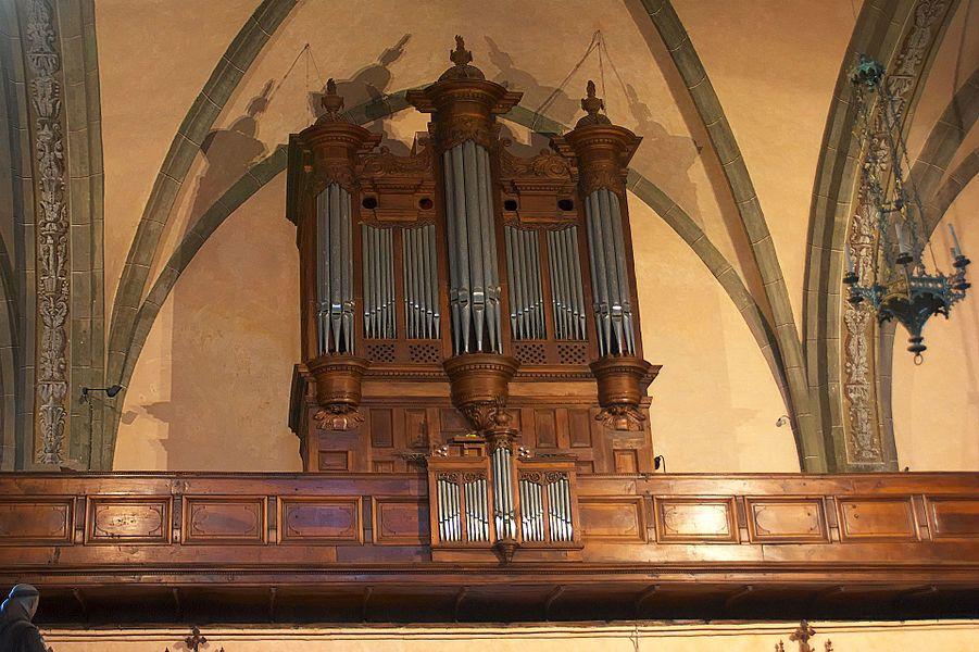 Rieux-Volvestre (Haute-Garonne, France), cathédrale Ste Marie, instrument érigé en 1869 par Jean-Baptiste Puget dans le buffet de l'orgue de Robert Delaunay de 1663, restauré en 2004 par SIMON S.A.R.L.