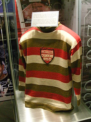 1923–24 Ottawa Senators season - The Senators changed their jersey colours from black, red and white to gold, red and white, with a championship patch. Jersey on display at the Hockey Hall of Fame.