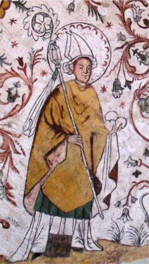 Saint Eskil - Eskil, depicted as a bishop with his attribute, three stones. Painting in the church of Överselö, Sweden.