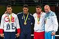 Pódio da categoria peso superpesado acima de 91kg masculino, Jogos Olímpicos Rio 2016.jpg