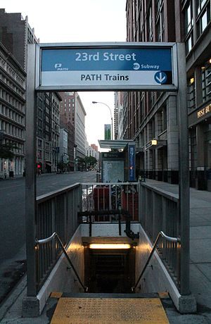 23rd Street (IND Sixth Avenue Line) - Combined New York City Subway and PATH entrance on the southeast corner of 23rd Street and Sixth Avenue
