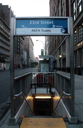 23rd Street station (PATH) - Combined New York City Subway and PATH entrance on the southeast corner of 23rd Street and Sixth Avenue