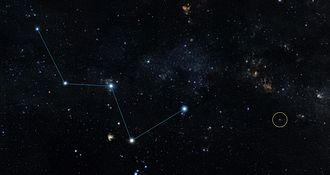 """HD 219134 b - Star HR 8832 (circled) lies just off the """"W"""" shape of the constellation Cassiopeia."""