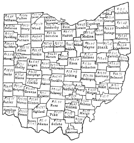PSM V72 D047 Farm acreage of ohio by county based on the 12th census of 1900.png