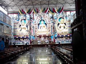 Padmasambhava - Statues of Padmasambhava, Buddha and Amitayus at Namdroling Monastery.
