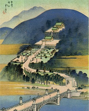 Taiwan Grand Shrine - A painting of Taiwan Grand Shrine during Japanese colonial rule. At the bottom of the painting is the Keelung River and in the lower-right corner the Meiji Bridge is partially visible.