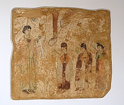 Palm Sunday (probably), Khocho, Nestorian Temple, 683-770 AD, wall painting - Ethnological Museum, Berlin - DSC01741.JPG