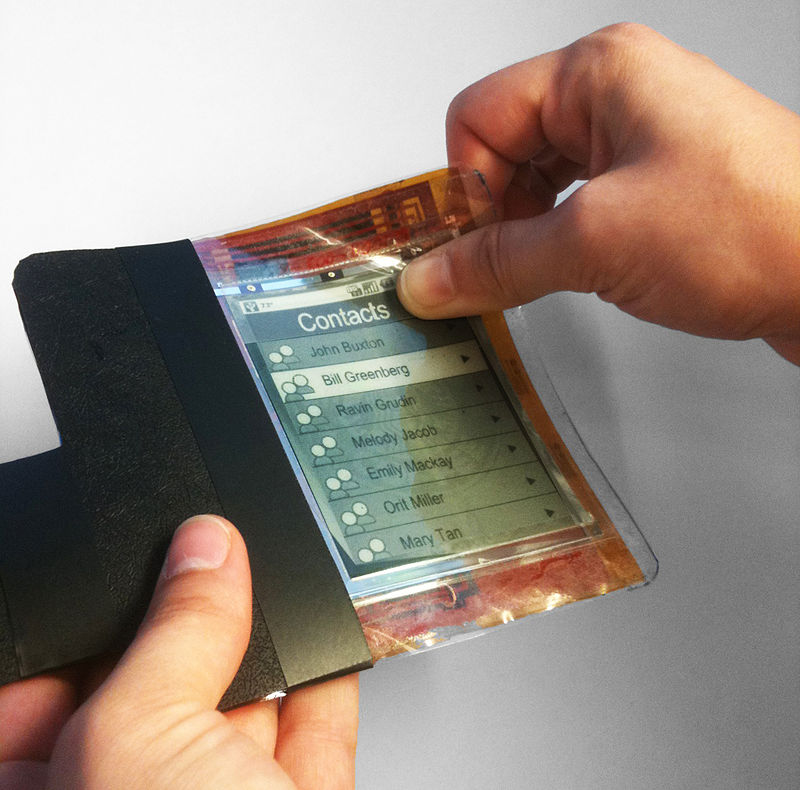 PaperPhone (2011) by Human Media Lab and ASU was the first flexible smartphone prototype. PaperPhone Flexible Smartphone.jpg