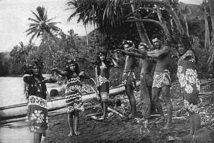 Marquesas Islands - Marquesans dressed in pareu demonstrating traditional dance, 1909