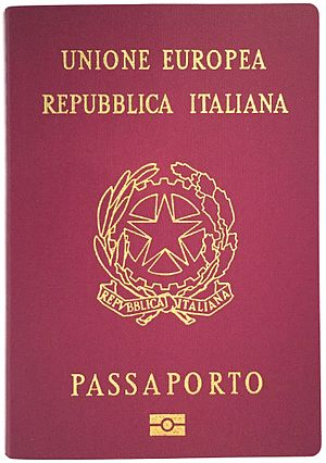 Italian passport - The front cover of a contemporary Italian biometric passport