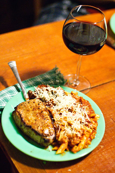 File:Pasta with Pork and Amarone and Eggplant Parmesean.jpg