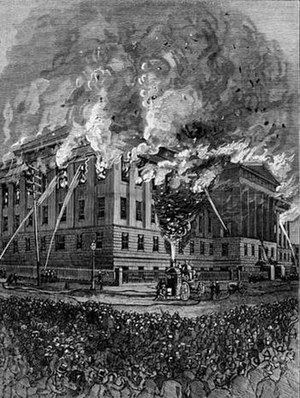 1877 U.S. Patent Office fire - Patent Office 1877 fire woodcut published  in Harper's Weekly 13 October 1877 after  Timothy H. O'Sullivan photograph
