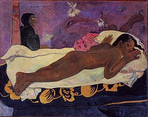 Primitivism - Paul Gauguin. Spirit of the Dead Watching, 1892. Oil on canvas. Albright Knox Art Gallery.