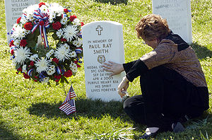 Paul Ray Smith - Smith's widow visiting his memorial marker in Arlington National Cemetery