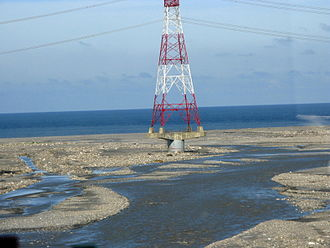 Electricity sector in Taiwan - Electricity transmission line river crossing in Yunlin County.