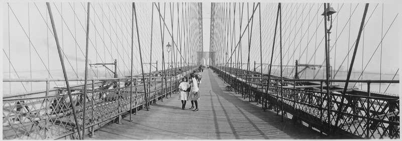 File:Pedestrians on the upper deck promenade of Brooklyn Bridge, New York City, ca. 1910 - NARA - 541908.tif