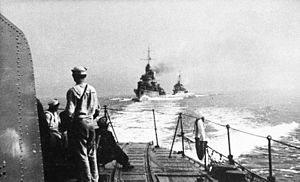 Peking Plan - Polish destroyers during the Peking Plan. View from Błyskawica of Grom and Burza.