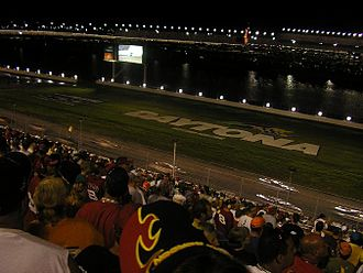 Night game - The backstretch of Daytona at night.