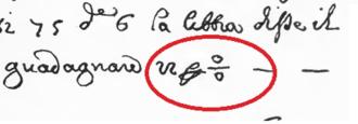 Percent sign - 1684 arithmetic text in Rara Arithmetica pg. 441