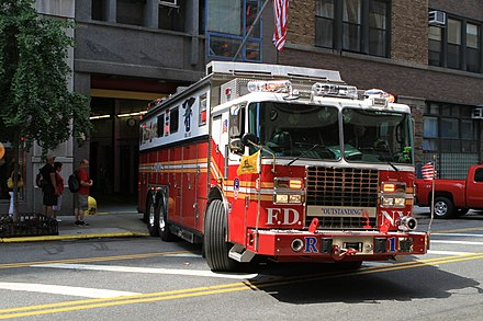 A typical FDNY rescue company, also known as a rescue truck. Pictured is Rescue Co. 1, which serves a large portion of Manhattan. Peter Stehlik - FDNY Rescue 1 - 2012.05.18.JPG