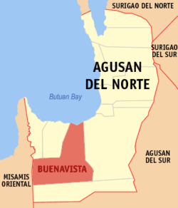 Map of Agusan del Norte with Buenavista highlighted