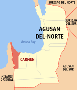 Map of Agusan del Norte with Carmen highlighted