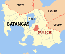 Map of Batangas showing the location of the municipality of San José.