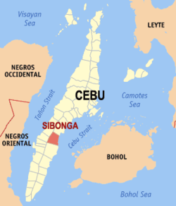 Map of Cebu with Sibonga highlighted