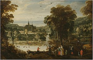 Philippe de Momper - A landscape with a moated palace, and figures awaiting the ferry on the near side