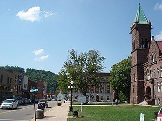 Philippi, West Virginia - Court Square in Philippi, West Virginia looking northwest along Main Street (U.S. Route 250). The Barbour County Courthouse (1905) is at right.